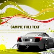 Green and Yellow grunge background with car image. Vector — Stockvectorbeeld