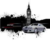 Bandera de grunge con imágenes de londres y coche. ilustración vectorial — Vector de stock