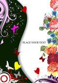 Floral spring background. Vector illustration. Invitation card — Stock Vector