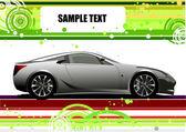 Groene en gele doted achtergrond met auto beeld. vector — Stockvector