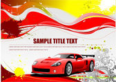 Red and Yellow grunge background with car image. Vector — Stock Vector