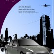 Cover for brochure with urban silhouette and car image — Stock Vector