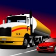 Car and truck on the road. Vector illustration - Stock Vector