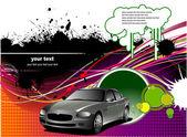 Couvercle pour obtenir un dépliant avec des images de voiture — Vecteur