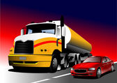 Car and truck on the road. Vector illustration — Stock Vector