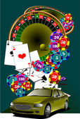 Casino elements with car image — Stock Vector