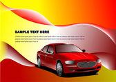 Fond d'écran futuriste avec l'image de la voiture — Vecteur
