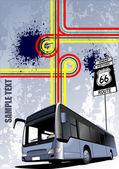 Couverture pour la brochure avec l'image de l'autobus. vector — Vecteur