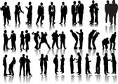 Forty businessmen silhouettes — Stock Vector