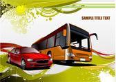 Tło zielony i żółty grunge z autobusów i samochodów zdjęcia — Wektor stockowy