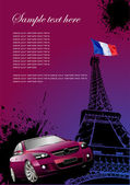 Cover for brochure with Paris image, France flag and car — Stock Vector