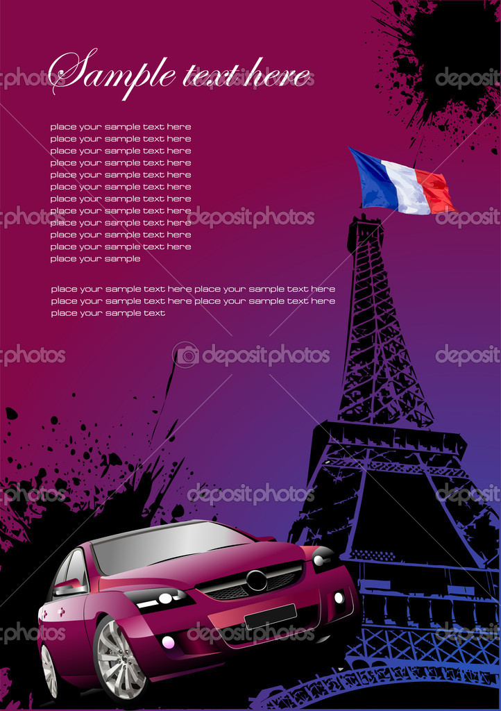 cover for brochure with paris image france flag and car stock vector leonido 6809841. Black Bedroom Furniture Sets. Home Design Ideas