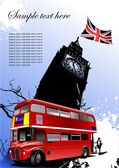 Cover for brochure with London images — Stock Vector