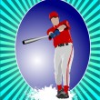 Baseball player poster. Vector illustration — Stock Vector