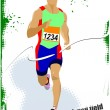 Long-distance runner. Poster. Vector illustration — Stock Vector