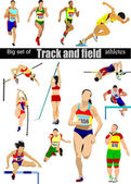 Big cet of Track and field athletes. Vector illustration. — Stock Vector
