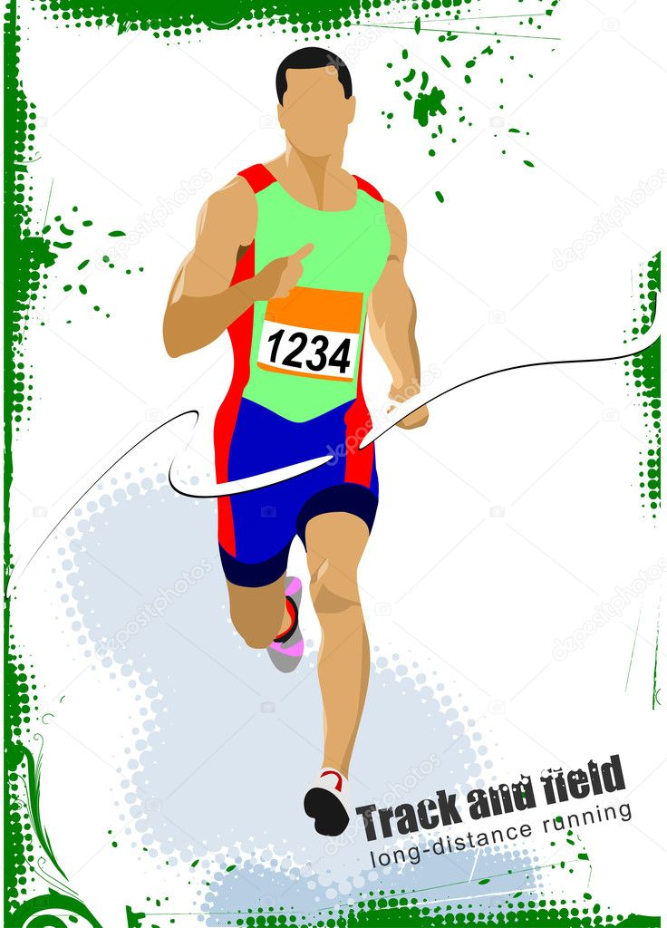 Long-distance runner. Poster. Vector illustration  Stock Vector #6822778