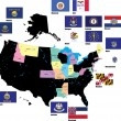 Flags of the USA states by alphabet. Letters I-M. Vector illustr - Stok Vektör