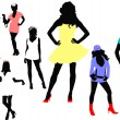 Seven woman silhouettes. Vector illustration — Stock Vector