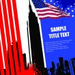 Cover for brochure with USA image and American flag — Stock Vector