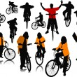 Fourteen  silhouettes with bicycle. Vector illustration — Imagens vectoriais em stock