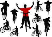 Ten men with bicycle. Vector illustration — Vector de stock