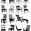 Big set of home chair silhouettes. Vector illustration — Stock Vector #6957557