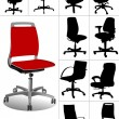 Royalty-Free Stock Vector Image: Big set Illustrations of office chairs isolated on white backgro