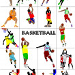 Big set of Basketball players. Colored Vector illustration for d — Stock Vector