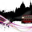 Grunge London images with buses image. Vector illustration - Stock Vector