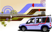 Abstracte hi-tech achtergrond met lichte roze mini vrachtwagen beeld. ve — Stockvector