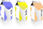 Dairy produces collection in carton box. Milk, kefir, sour milk. — Vector de stock