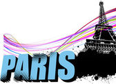 3D word Paris on the Eiffel tower grunge background. Vector illu — Stock Vector