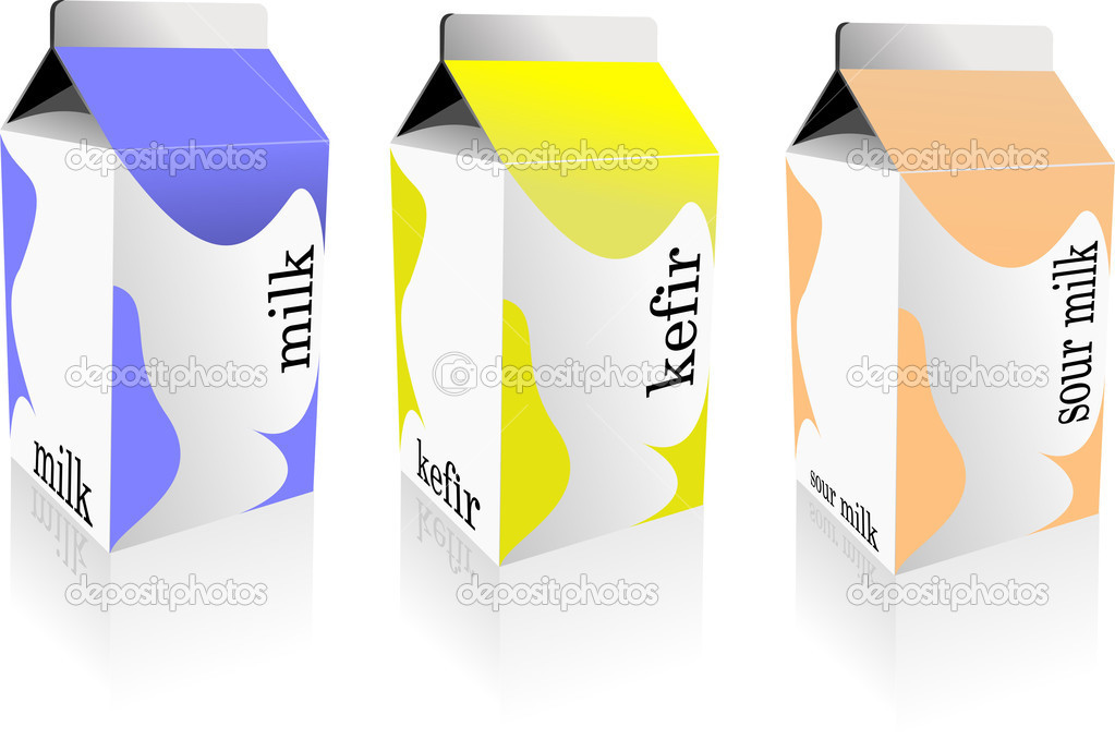 Dairy produces collection in carton box. Milk, kefir, sour milk. Vector — Imagens vectoriais em stock #6957678