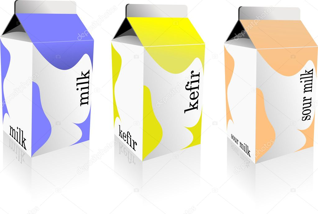 Dairy produces collection in carton box. Milk, kefir, sour milk. Vector — 图库矢量图片 #6957678