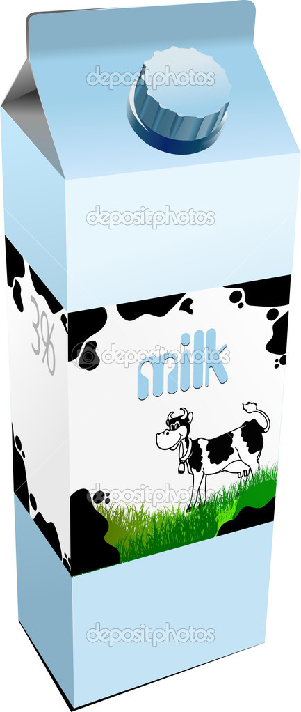 Dairy produces in carton box. Milk. Vector — ベクター素材ストック #6957683