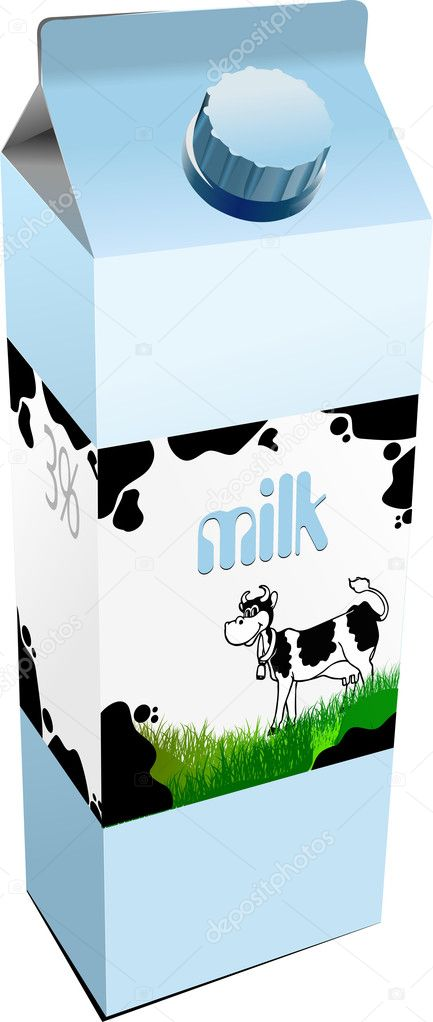 Dairy produces in carton box. Milk. Vector  Image vectorielle #6957683