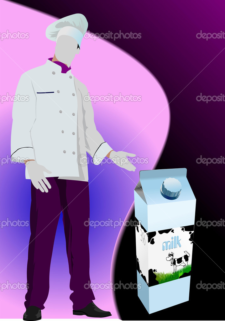 Dairy produces in carton box and cook image. Vector — Stockvectorbeeld #6957702