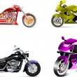 Stock Vector: Four vector illustrations of motorcycle