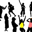 Eight womsilhouettes. Vector illustration — Vettoriale Stock #6966295