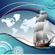 Cover for brochure with old sailing vessel — Stock Vector #6966305