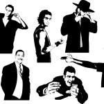 seis siluetas de hombres guapos — Vector de stock  #6966337