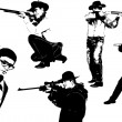 Five  men silhouettes with gun — Stock Vector