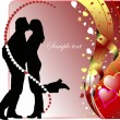 Valentine`s Day Greeting Card with kiss — Stock Vector