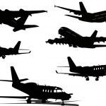 silhuetas de avião. ilustração vetorial para designers — Vetorial Stock