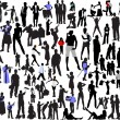 Stock Vector: 100 silhouettes