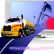 Abstract composition with lorry, road and TV . Vector illustration — ベクター素材ストック