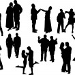 Stock Vector: Black and white ten couples silhouettes