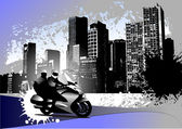 Grunge urban background with two bikers image — Vetor de Stock