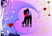 Valentine`s jour carte de voeux — Vecteur